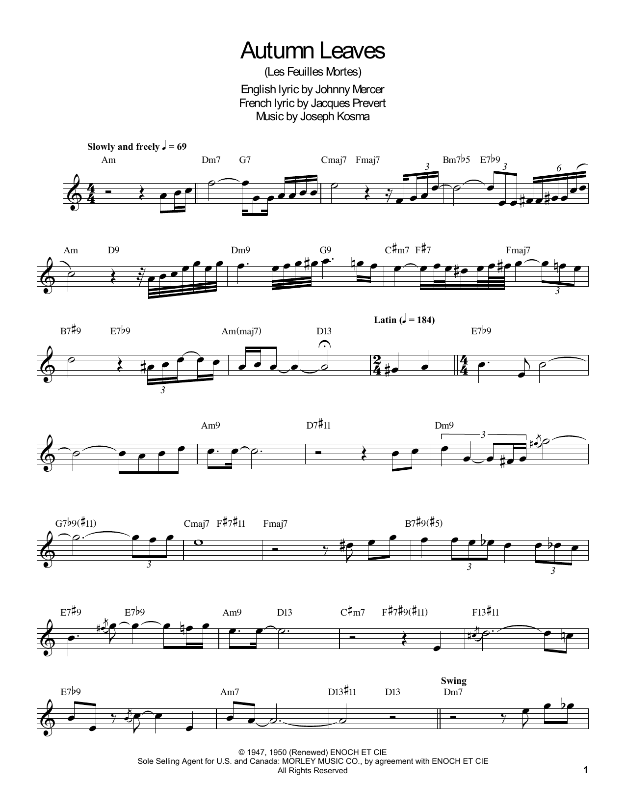 Autumn Leaves by Buddy DeFranco Clarinet Transcription Digital Sheet Music