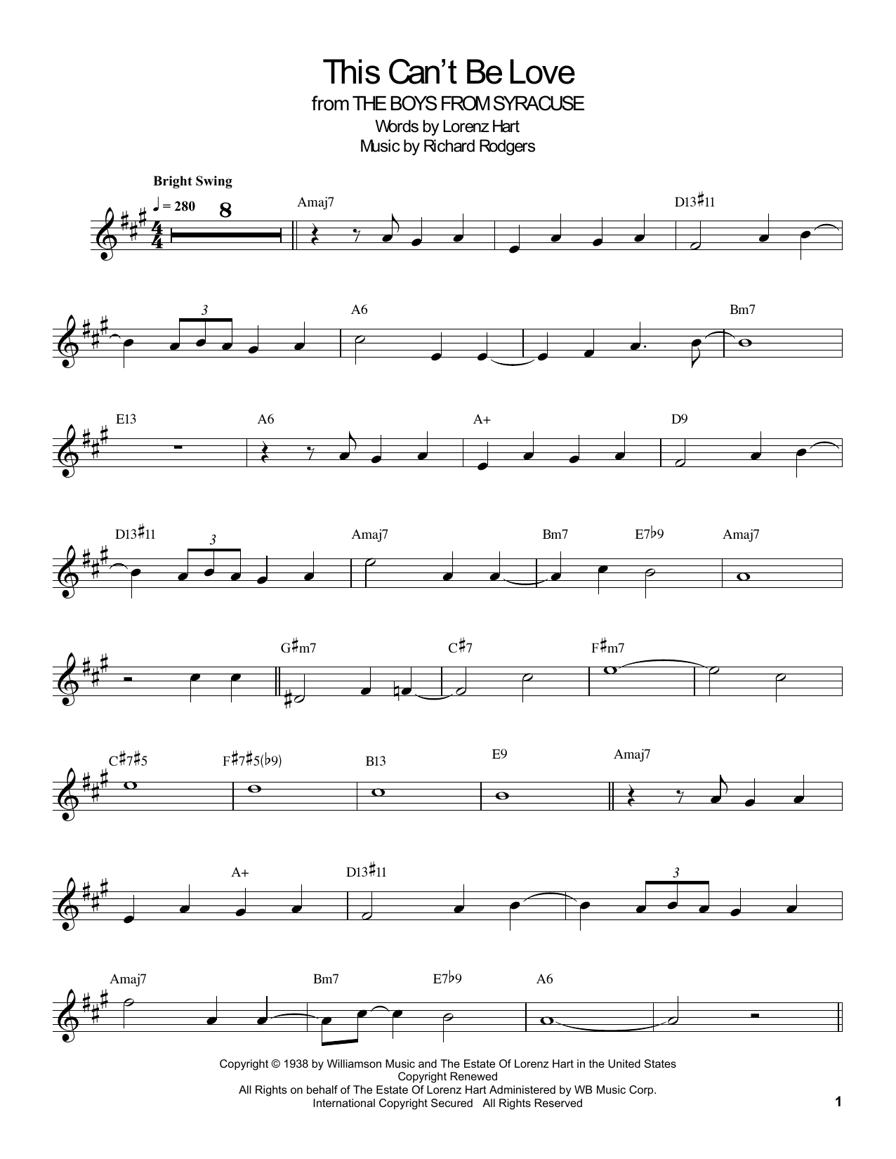 This Can't Be Love (Clarinet Transcription)