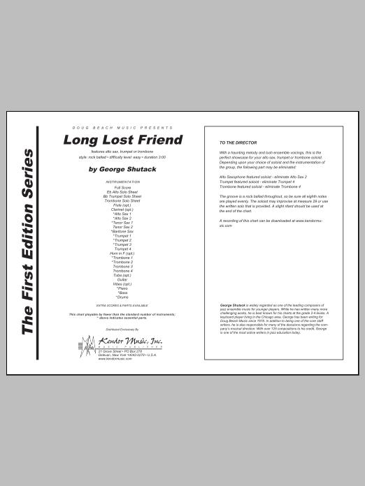 Long Lost Friend - Full Score Sheet Music