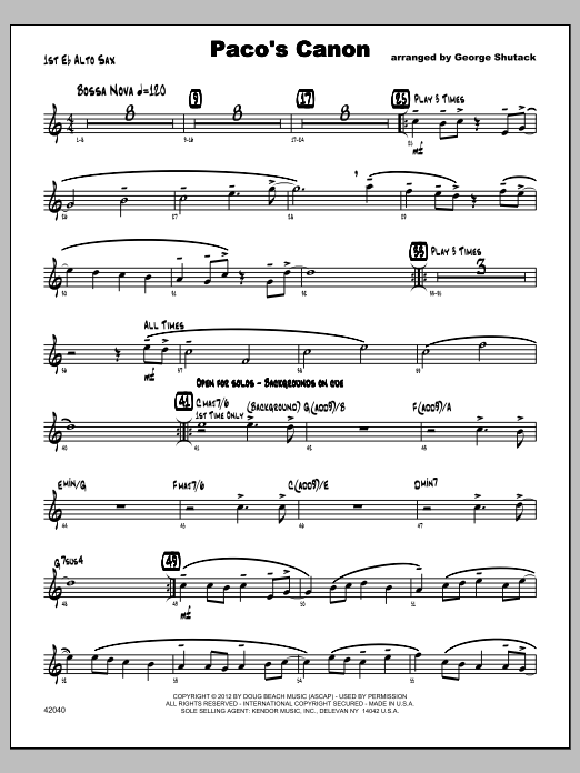 Paco's Canon - Alto Sax 1 Sheet Music