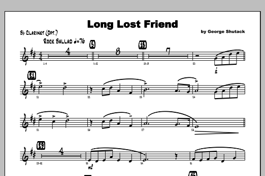 Long Lost Friend - Clarinet Sheet Music