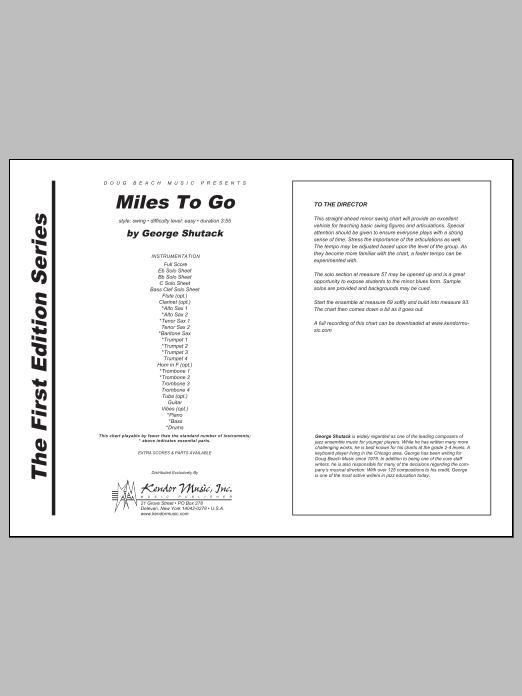 Miles To Go - Full Score Sheet Music