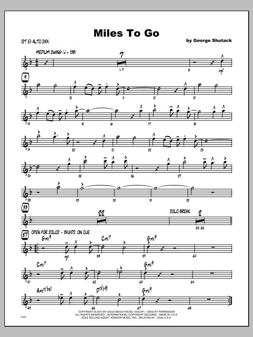 Miles To Go - Alto Sax 1 Sheet Music