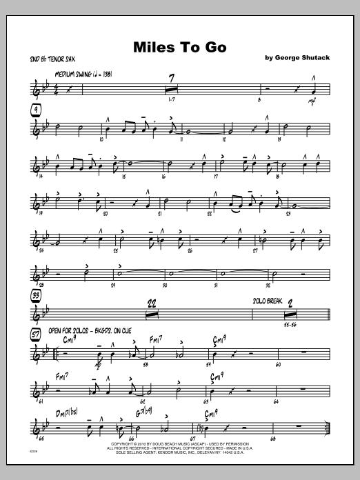 Miles To Go - Tenor Sax 2 Sheet Music