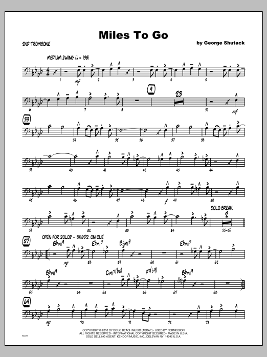 Miles To Go - Trombone 2 Sheet Music