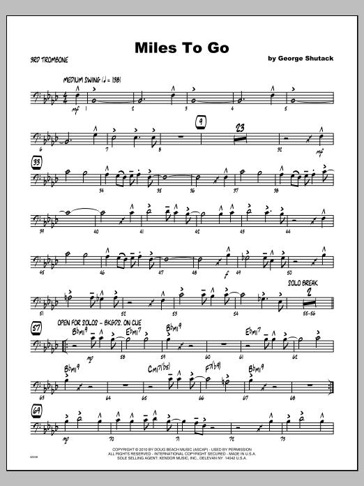 Miles To Go - Trombone 3 Sheet Music