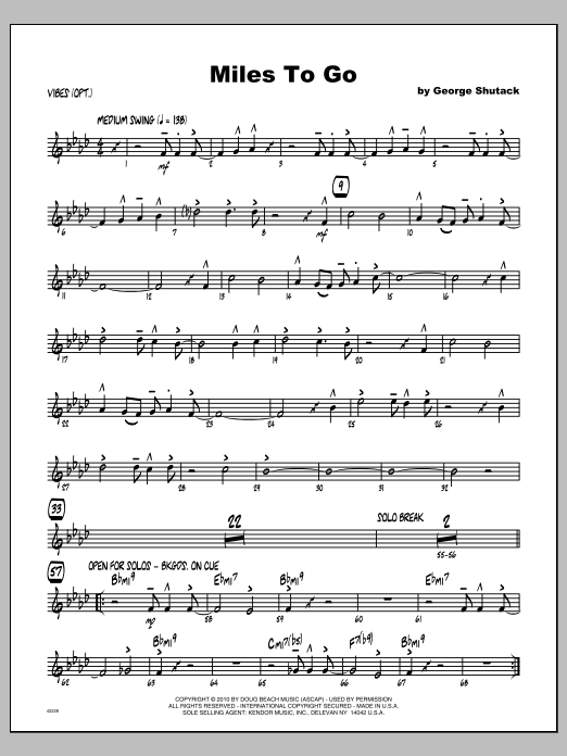 Miles To Go - Vibraphone Sheet Music