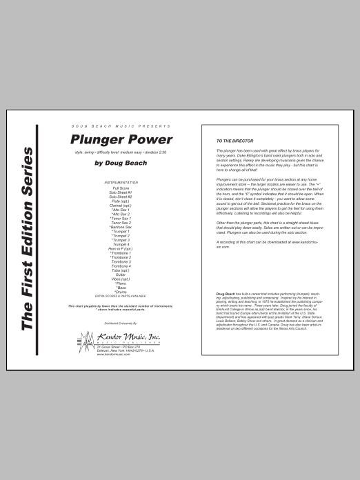 Plunger Power (COMPLETE) sheet music for jazz band by Beach. Score Image Preview.