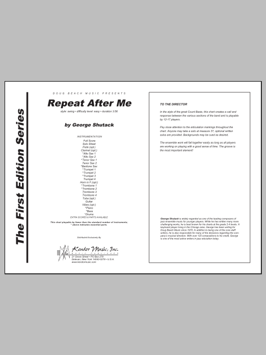 Repeat After Me (COMPLETE) sheet music for jazz band by Shutack. Score Image Preview.