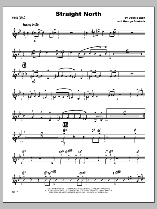 Straight North - Vibraphone Sheet Music