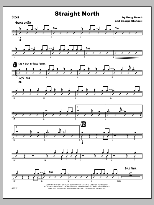 Straight North - Drums Sheet Music