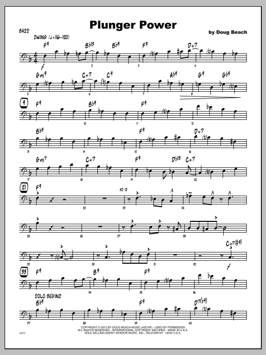 Plunger Power - Bass Sheet Music
