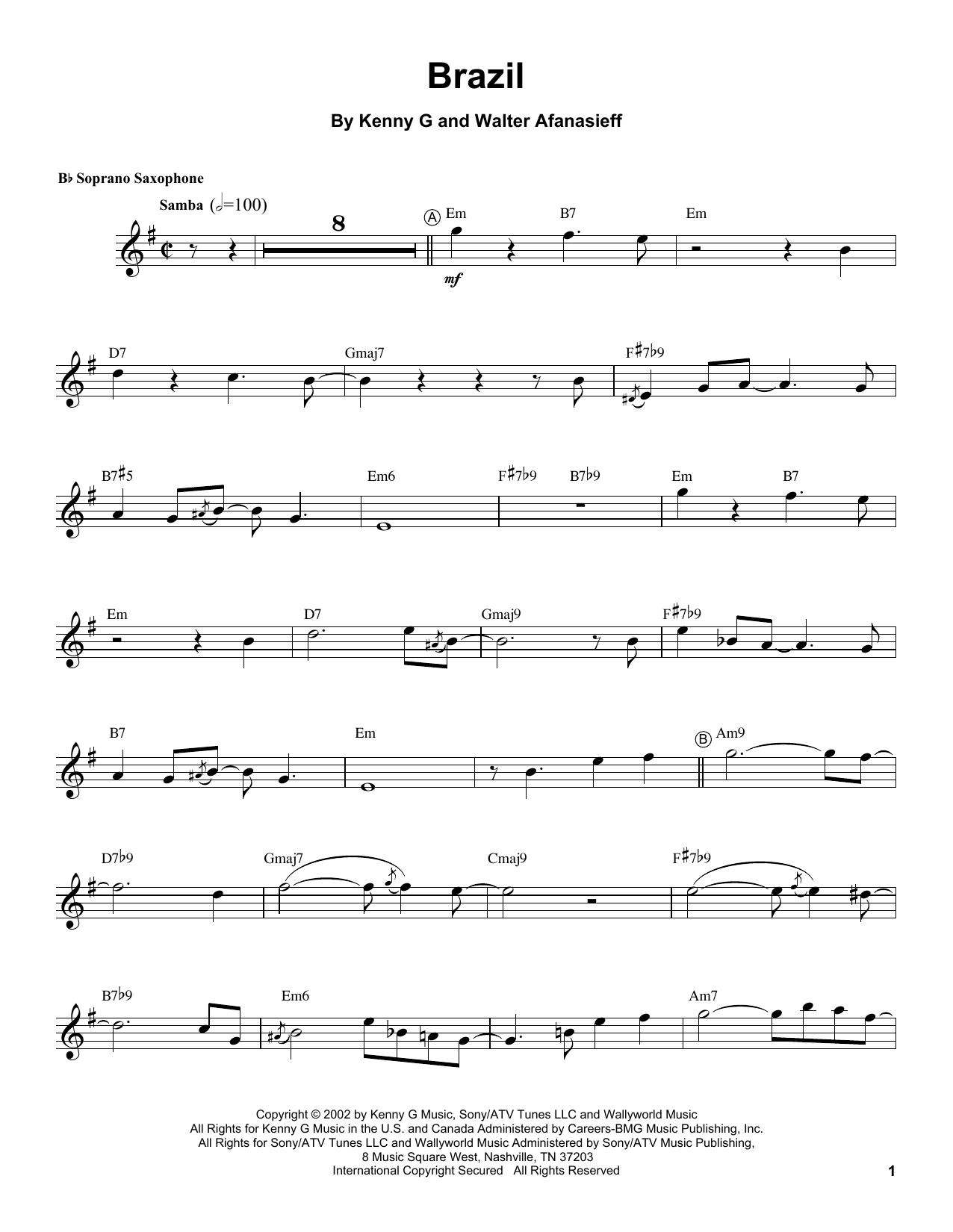 Brazil (Soprano Sax Transcription)