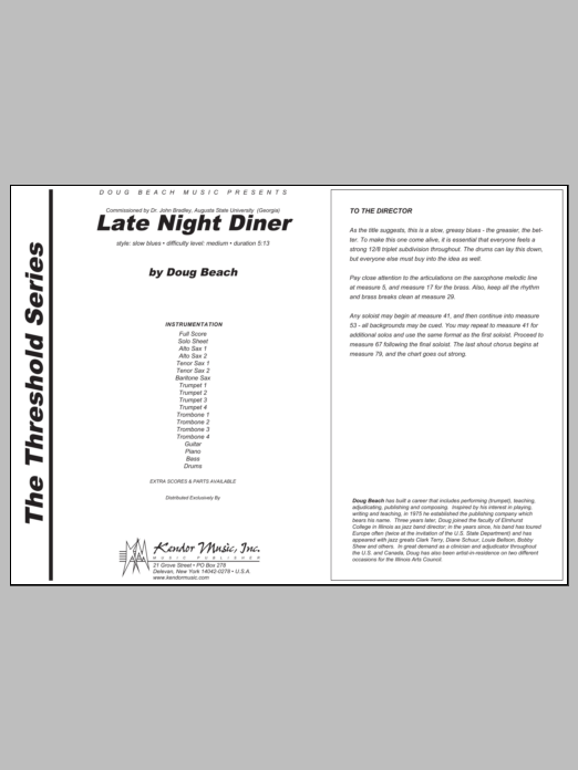 Late Night Diner (COMPLETE) sheet music for jazz band by Beach. Score Image Preview.