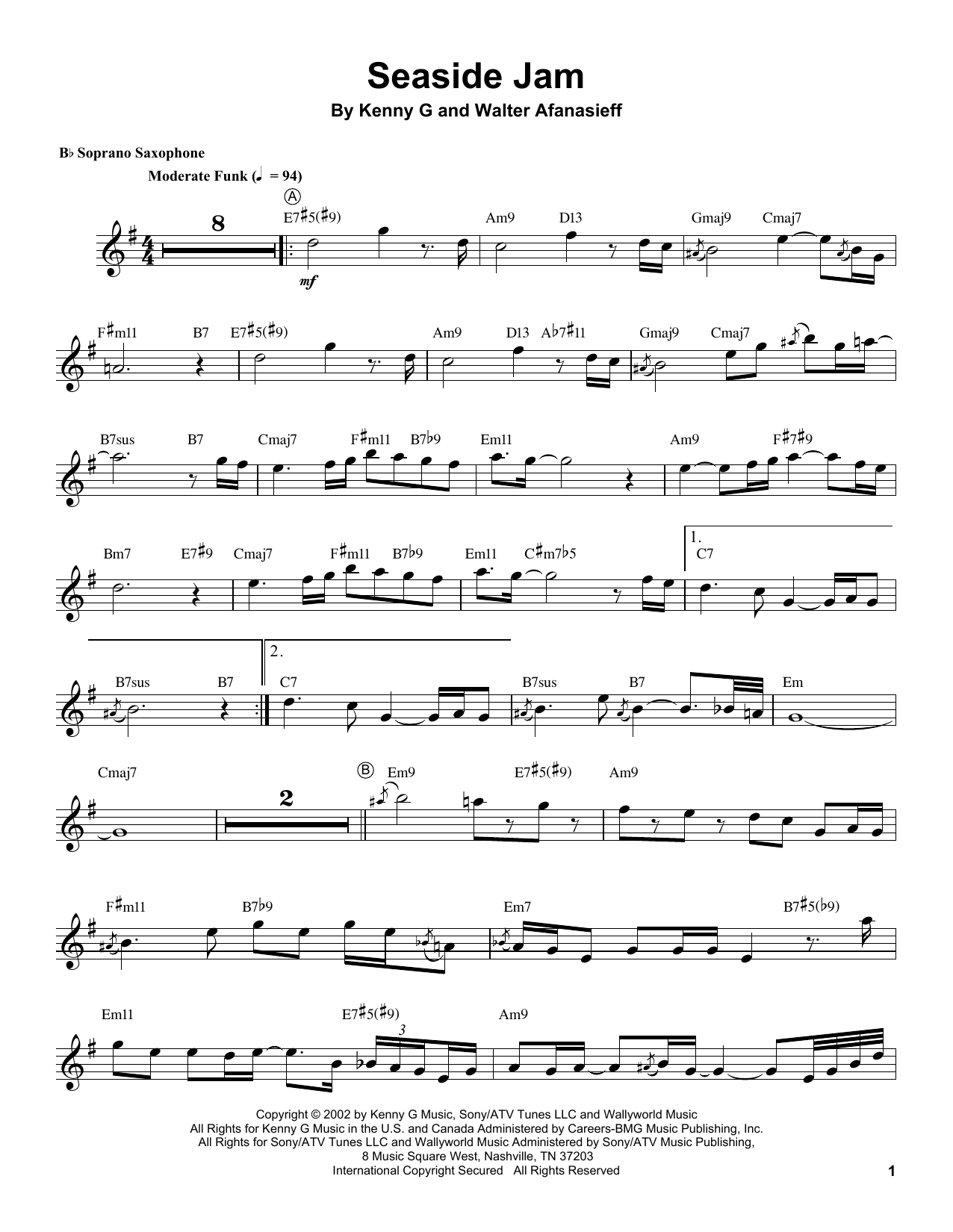 Seaside Jam (Soprano Sax Transcription)