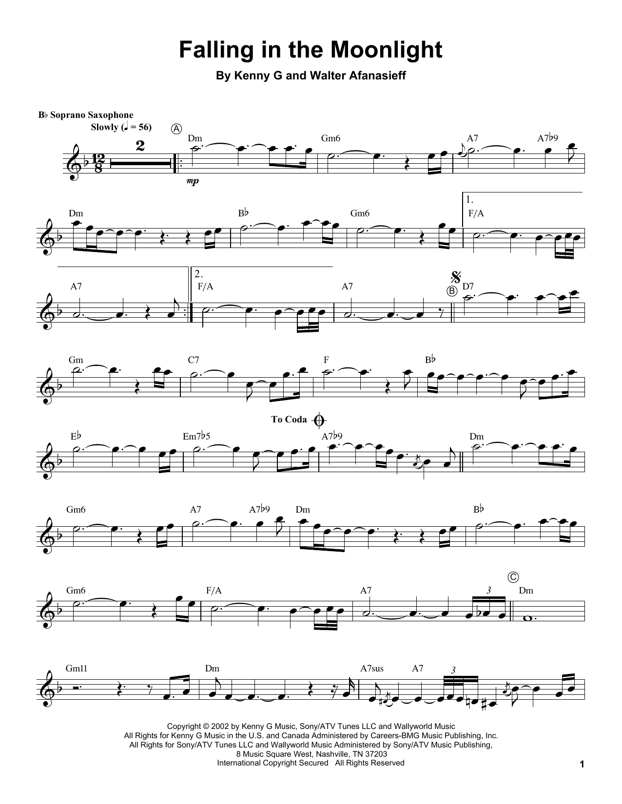 Falling In The Moonlight (Soprano Sax Transcription)