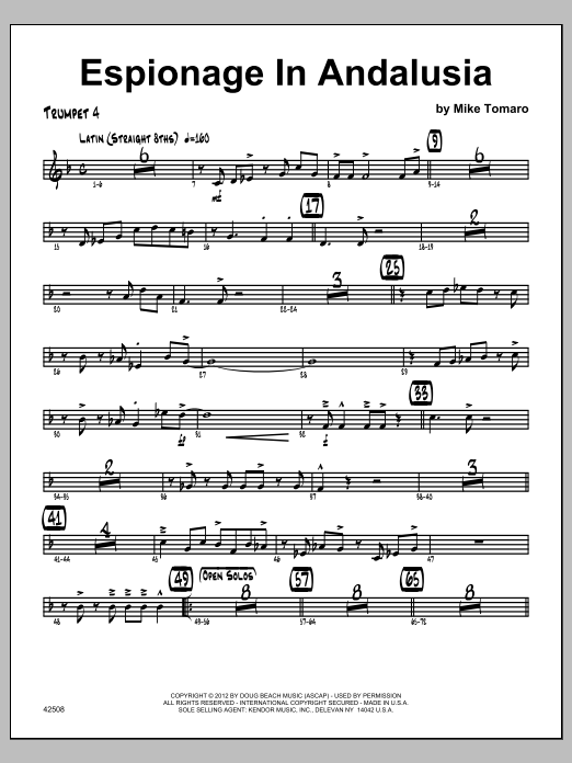 Espionage In Andalusia - Trumpet 4 Sheet Music