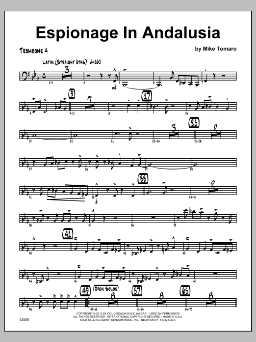 Espionage In Andalusia - Trombone 4 Sheet Music