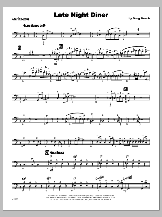 Late Night Diner - Trombone 4 Sheet Music