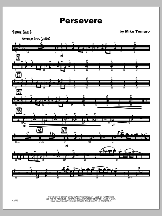 Persevere - Tenor Sax 2 Sheet Music
