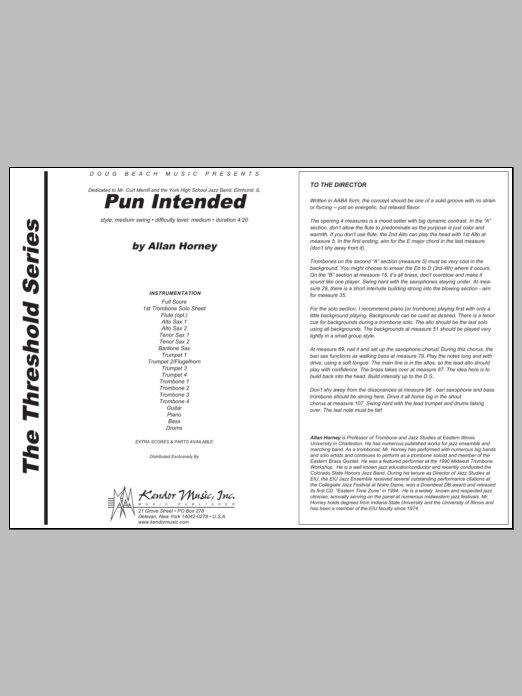 Pun Intended (COMPLETE) sheet music for jazz band by Horney. Score Image Preview.