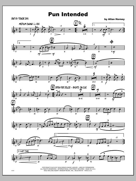 Pun Intended - Tenor Sax 2 Sheet Music