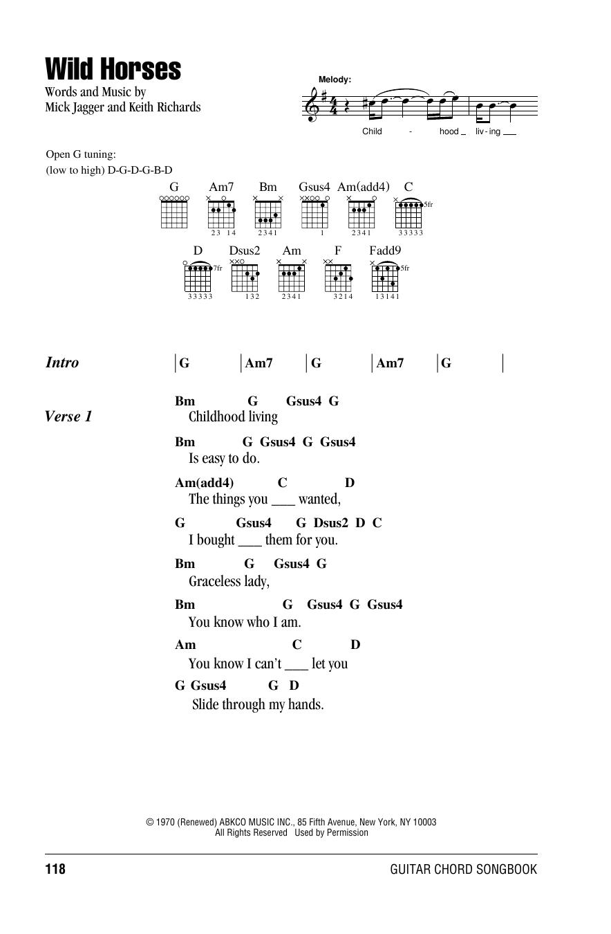 Wild Horses (Guitar Chords/Lyrics)
