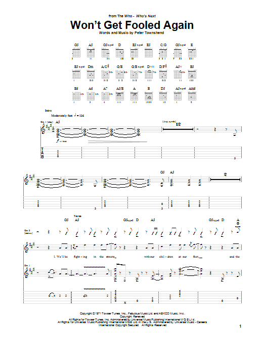 Tablature guitare Won't Get Fooled Again de The Who - Tablature Guitare