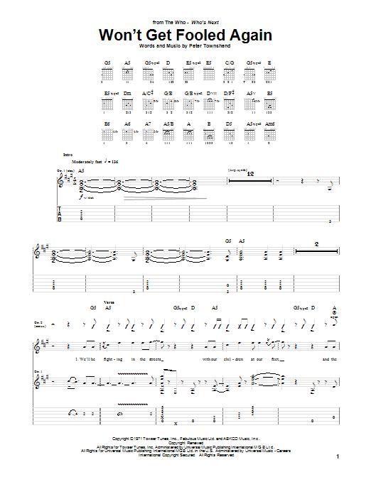 Won't Get Fooled Again (Guitar Tab)