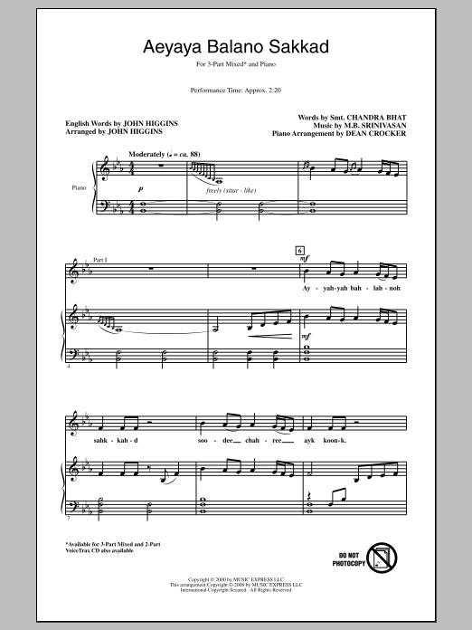 Aeyaya Balano Sakkad Sheet Music