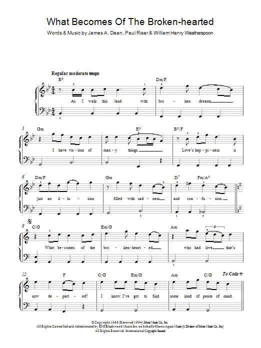 What Becomes Of The Brokenhearted ? | Sheet Music Direct