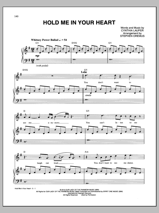 Hold Me In Your Heart Sheet Music