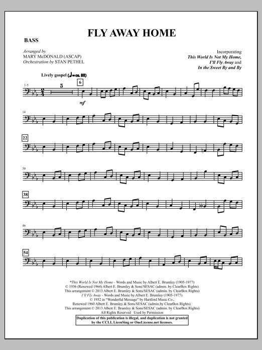 Fly Away Home - Acoustic Bass Sheet Music