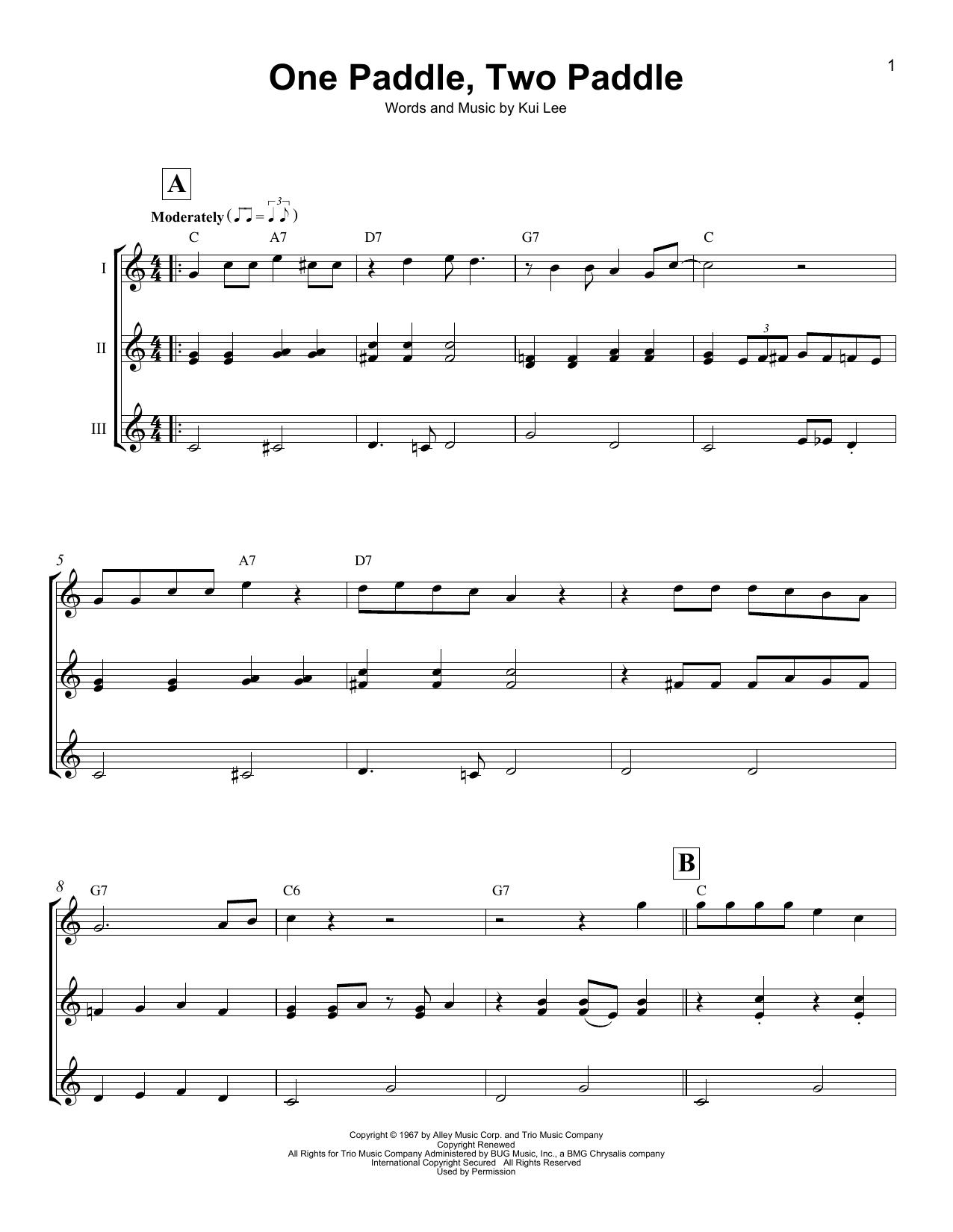 One Paddle, Two Paddle (Ukulele Ensemble)