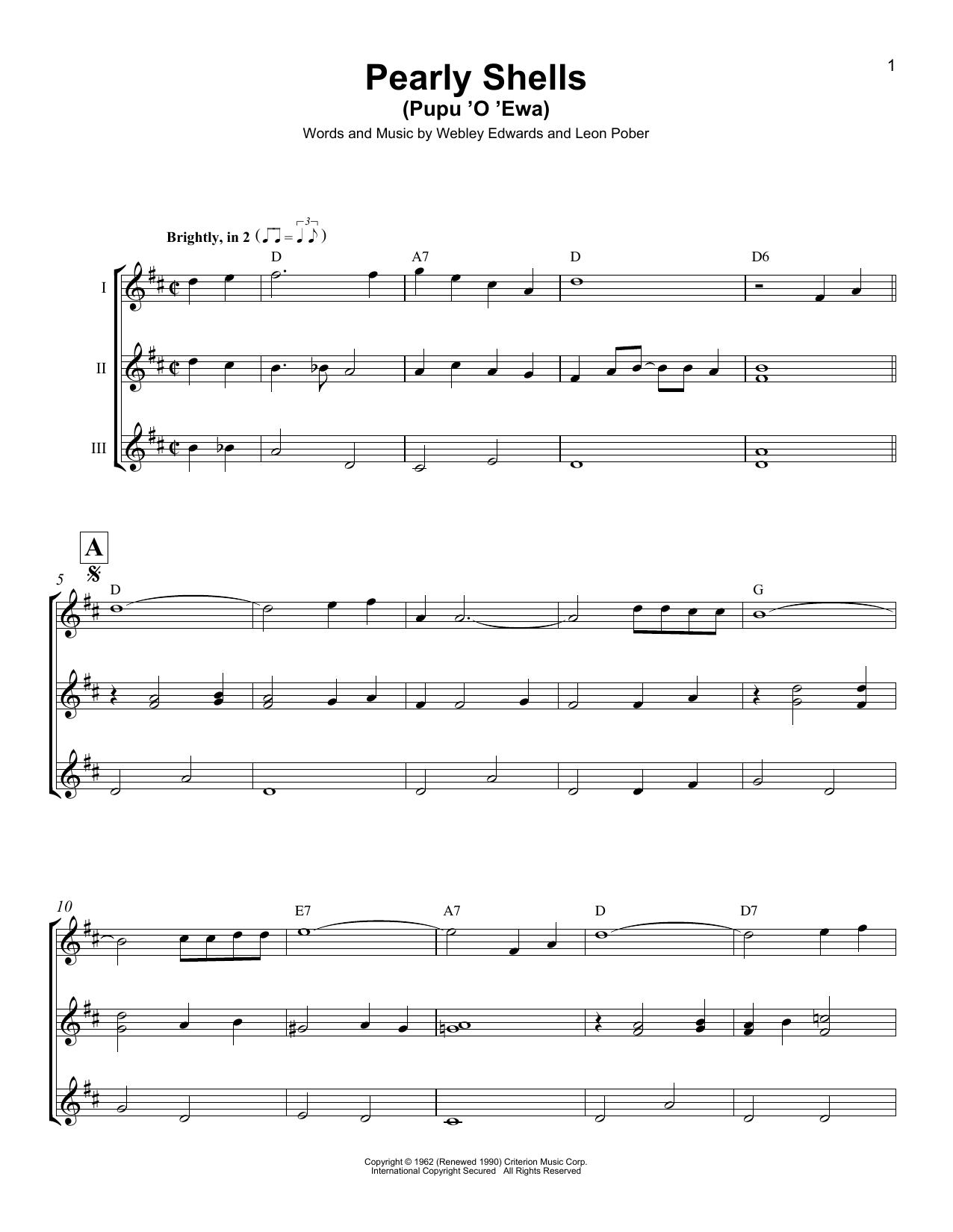 Pearly Shells (Pupu O Ewa) Sheet Music