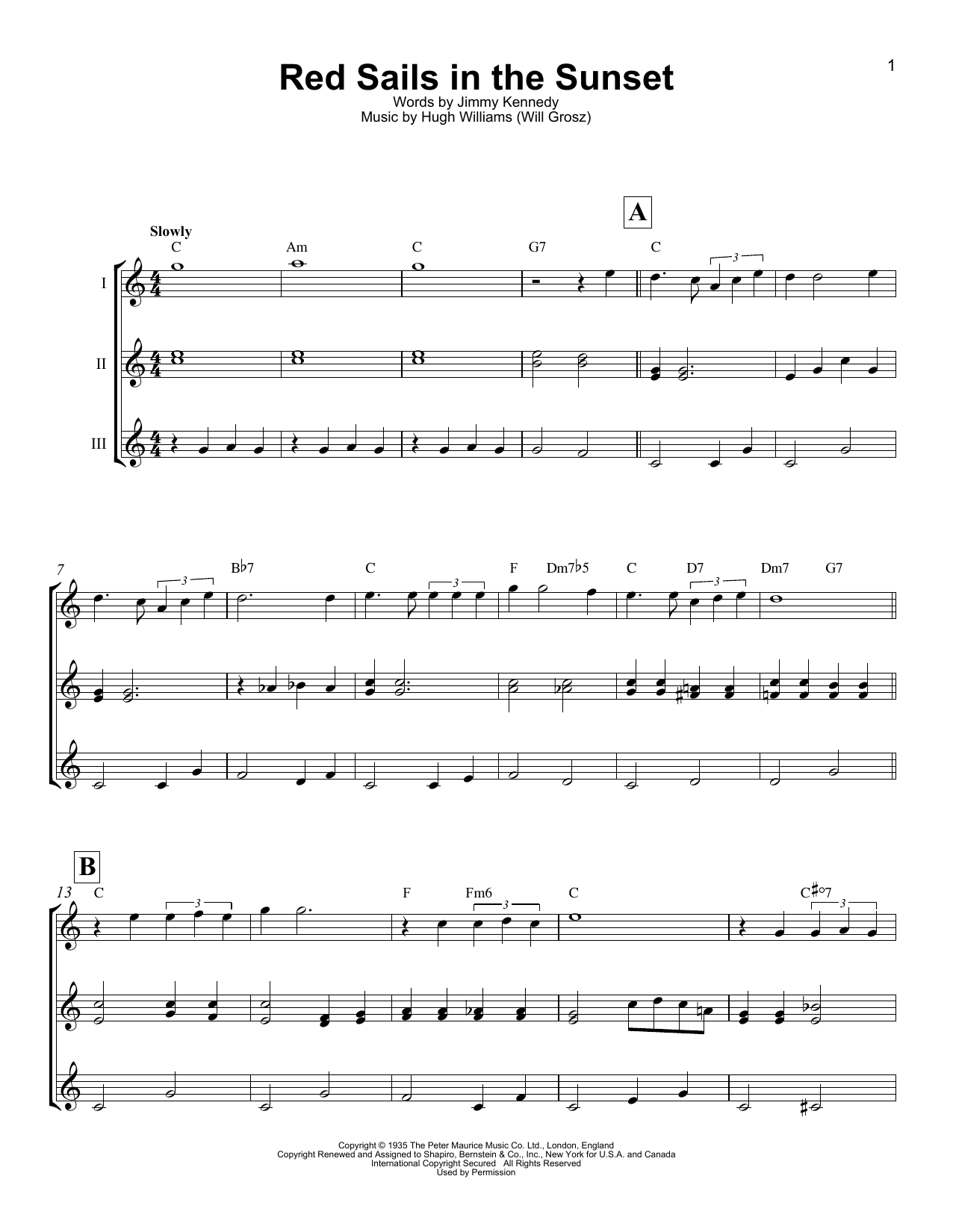 Red Sails In The Sunset Sheet Music