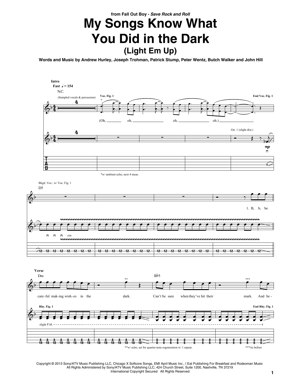 My Songs Know What You Did In The Dark (Light Em Up) Sheet Music