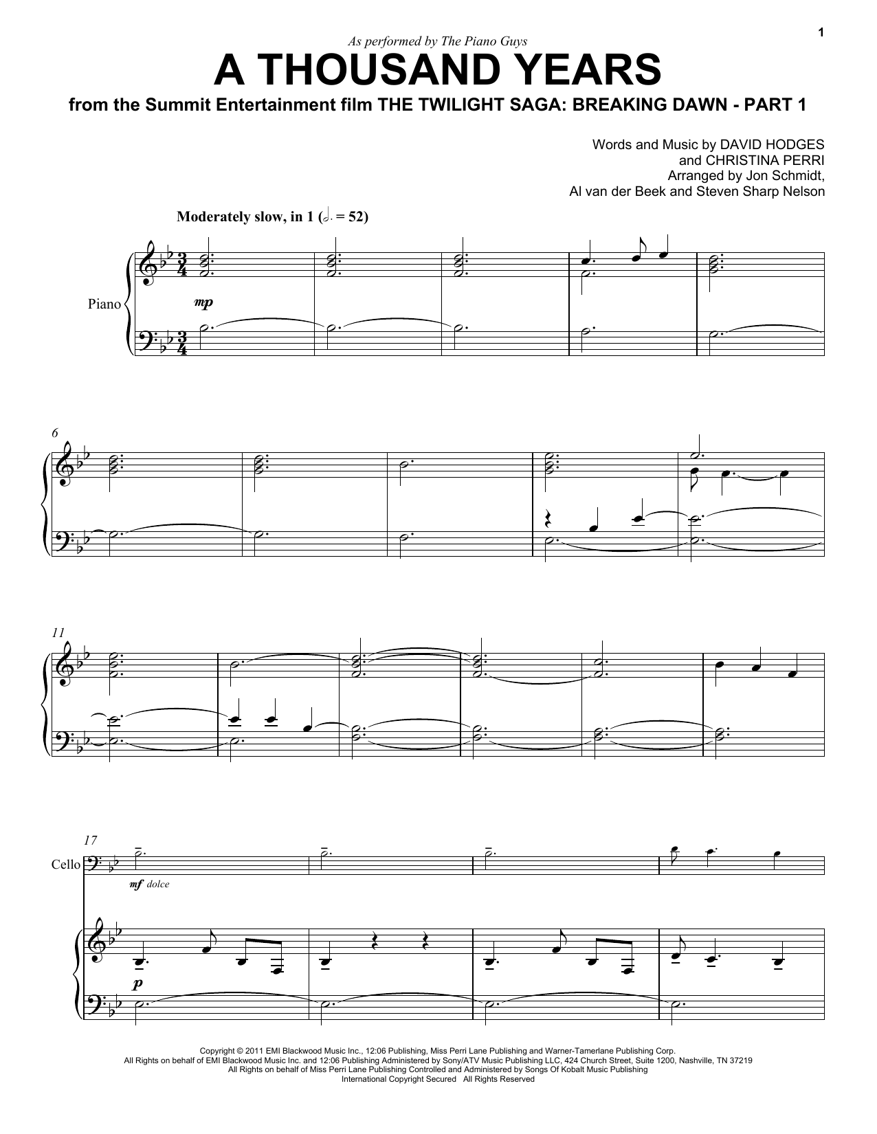 A Thousand Years Sheet Music Direct