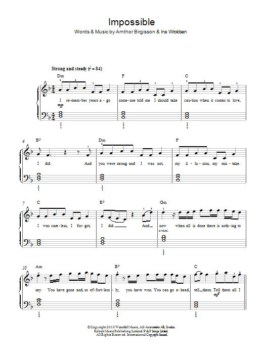 Impossible | Sheet Music Direct