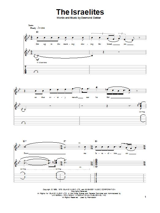The Israelites (Guitar Tab Play-Along)