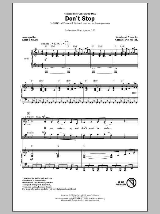 Don't Stop (arr. Kirby Shaw) Sheet Music