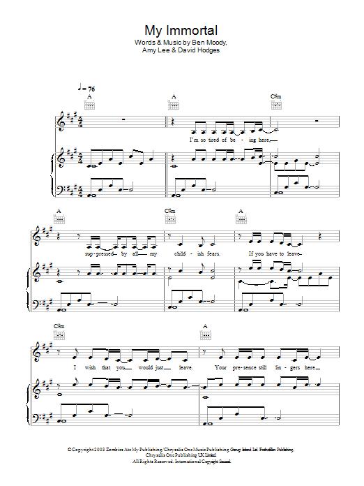 My Immortal | Andrea Begley | Piano, Vocal & Guitar (Right-Hand Melody)