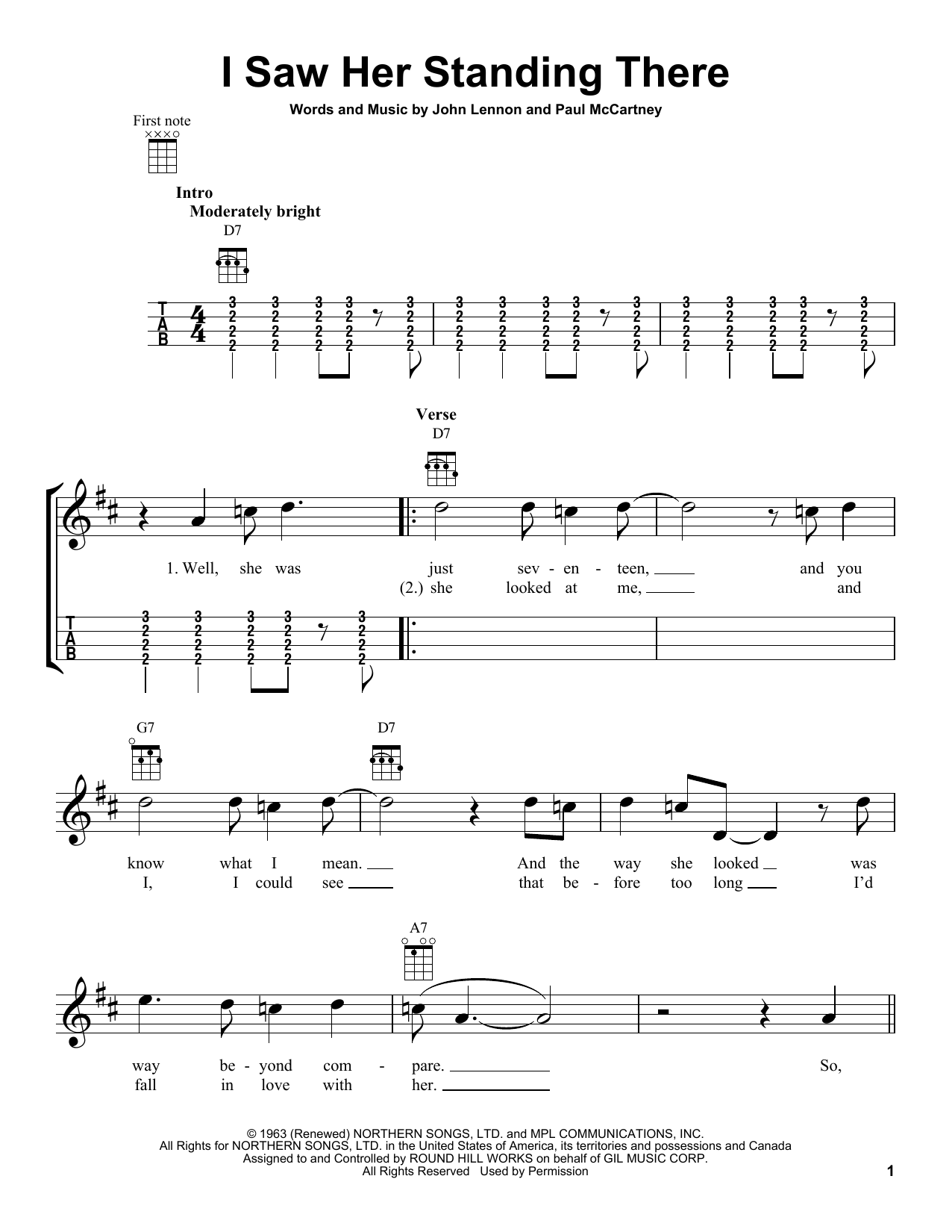 I Saw Her Standing There Sheet Music The Beatles Ukulele