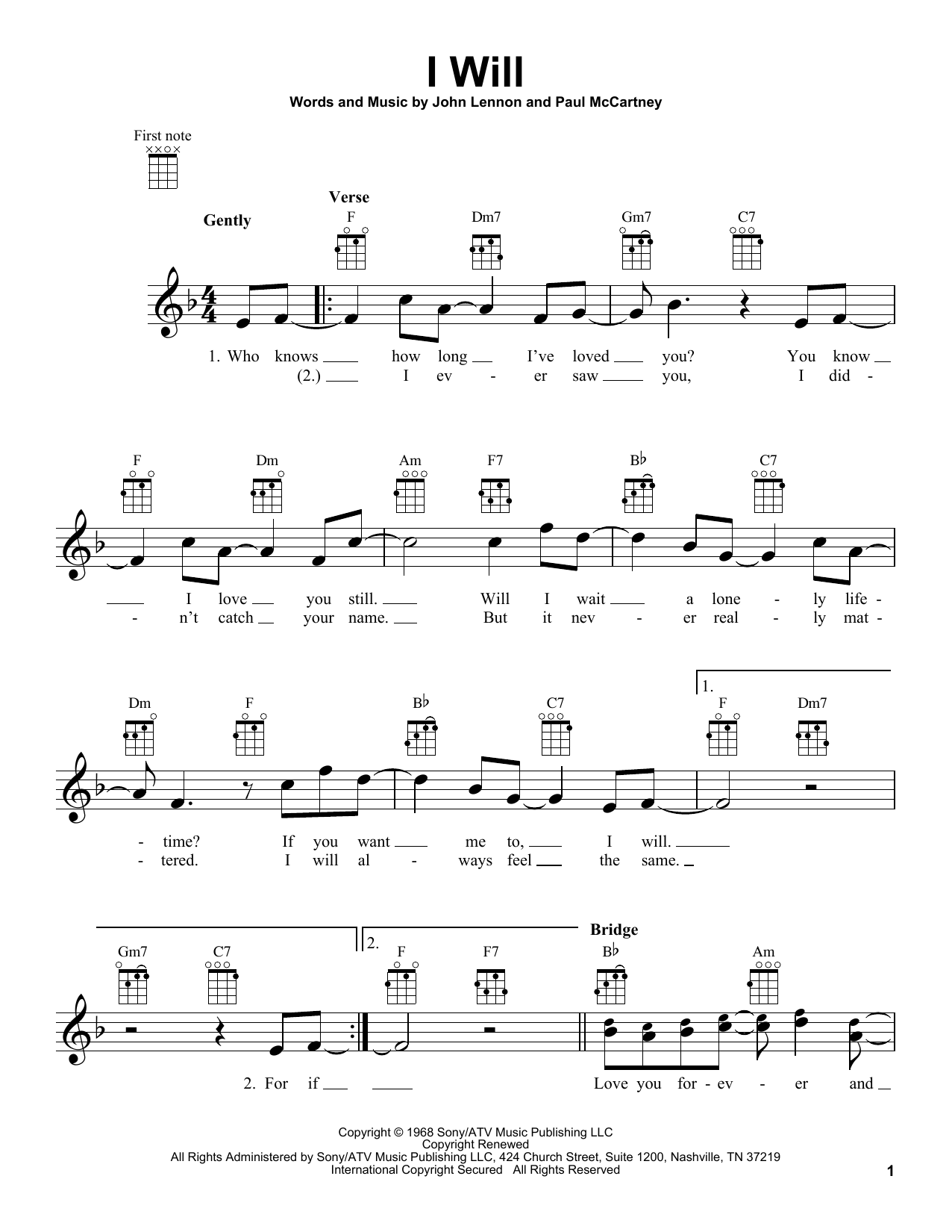 Tablature guitare I Will de The Beatles - Ukulele