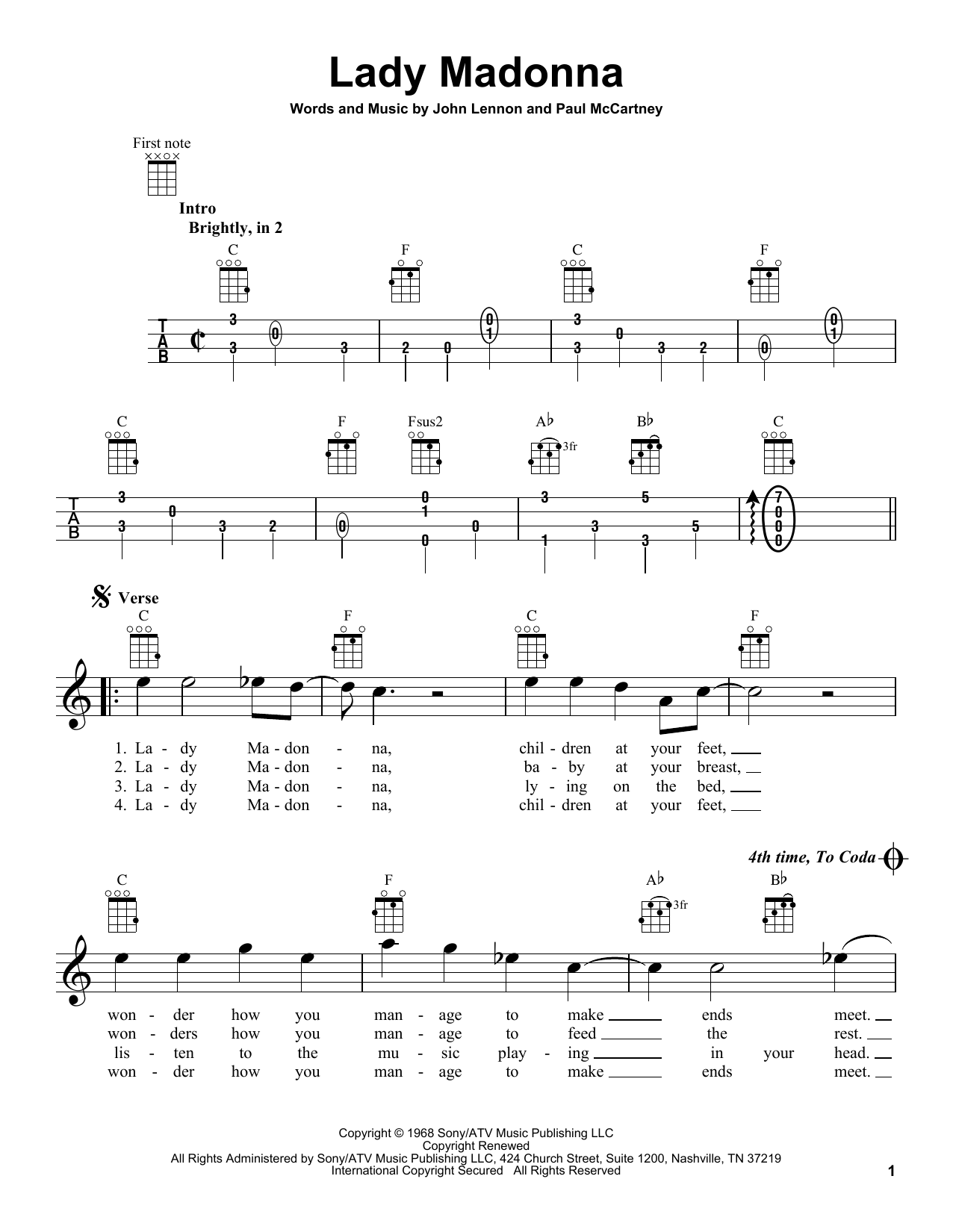 Tablature guitare Lady Madonna de The Beatles - Ukulele