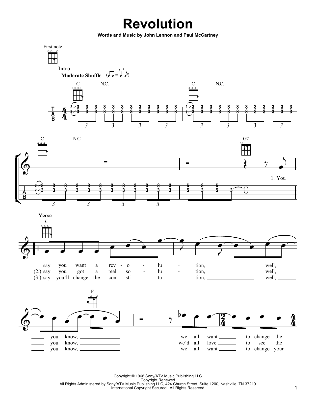 Tablature guitare Revolution de The Beatles - Ukulele