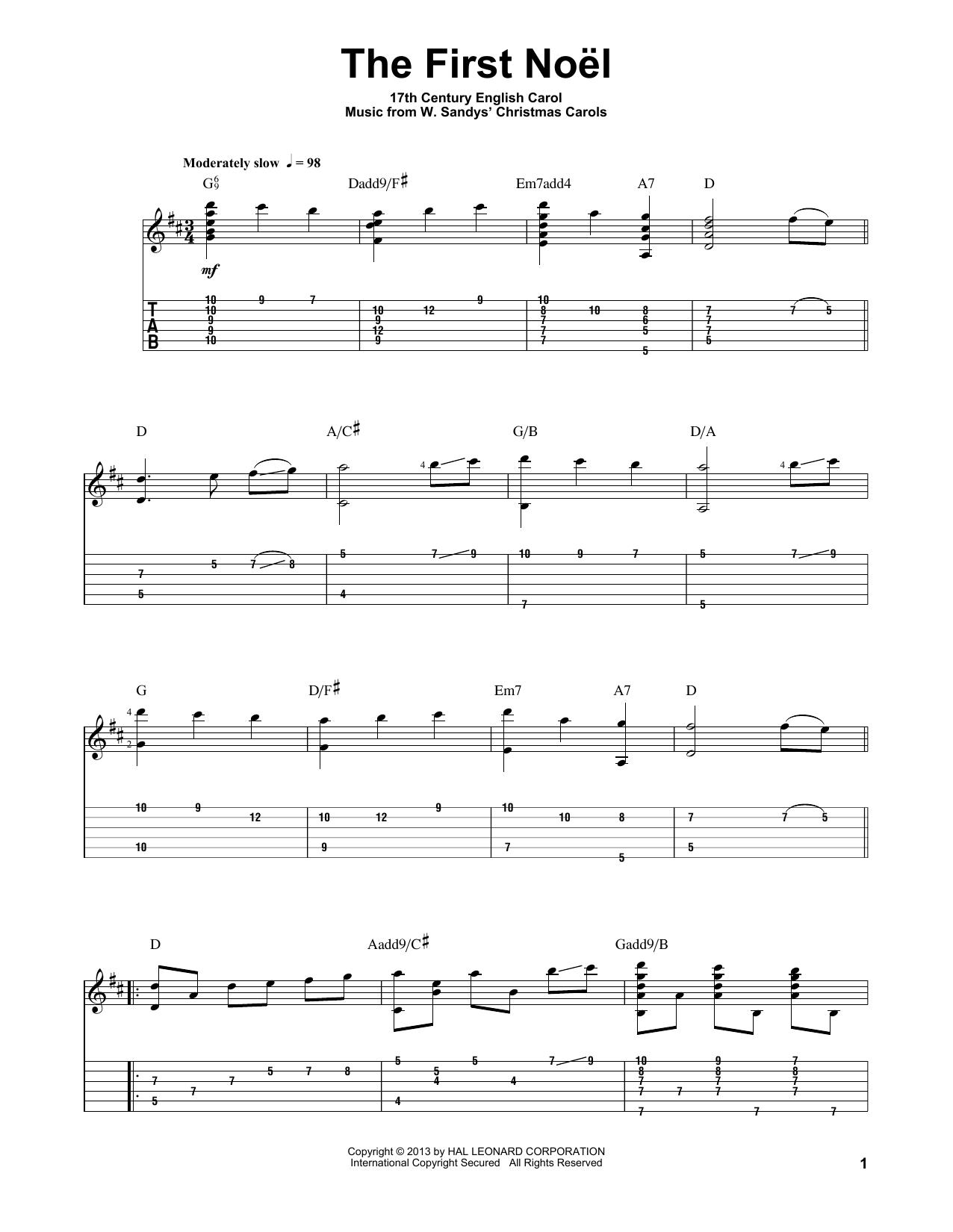 Tablature guitare The First Noel de Jake Reichbart - Tablature Guitare