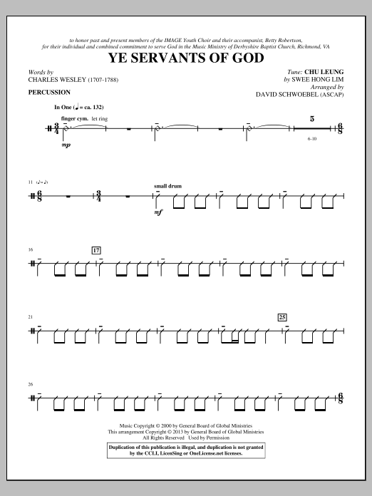 Ye Servants of God - Percussion Sheet Music