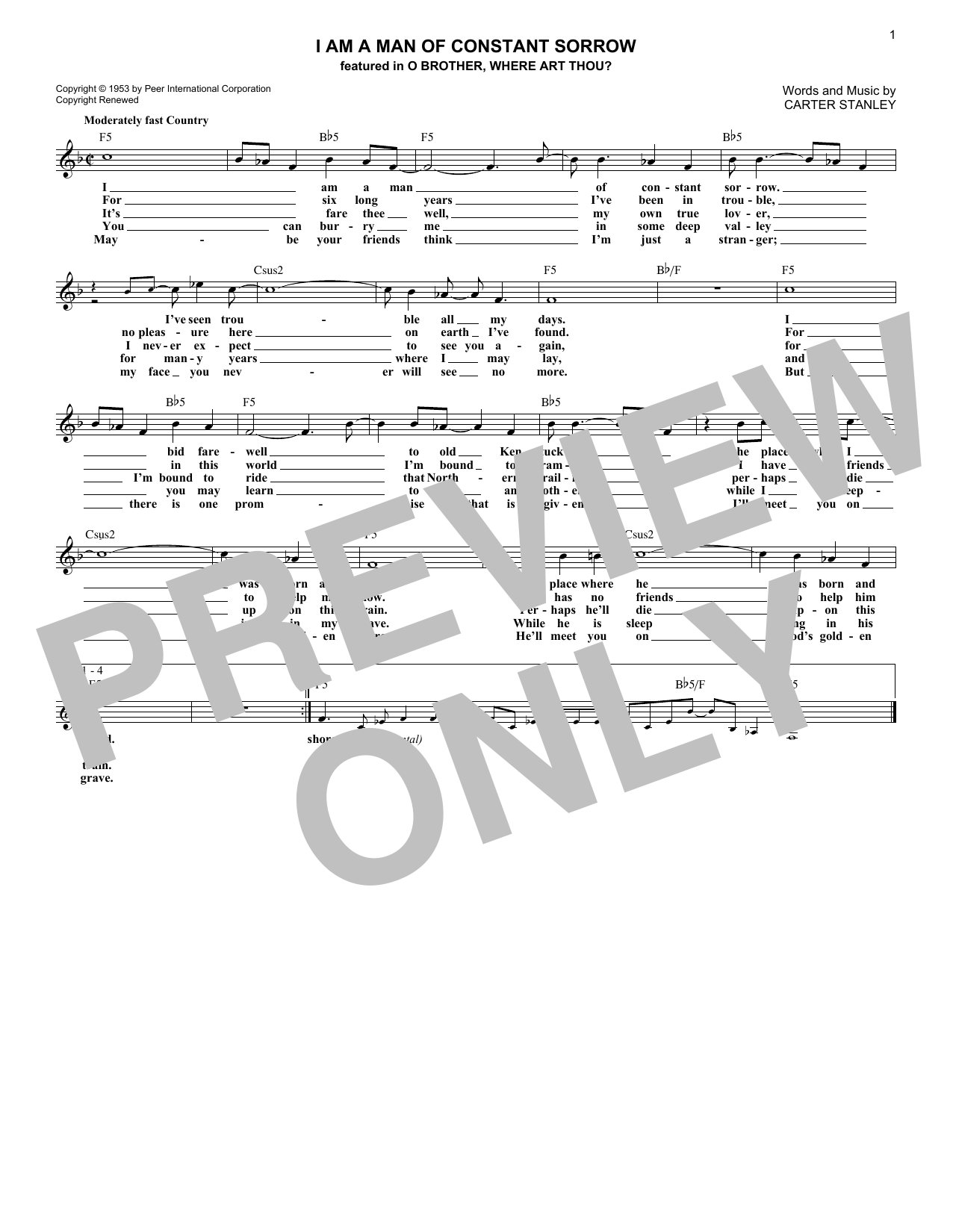 I Am A Man Of Constant Sorrow Sheet Music