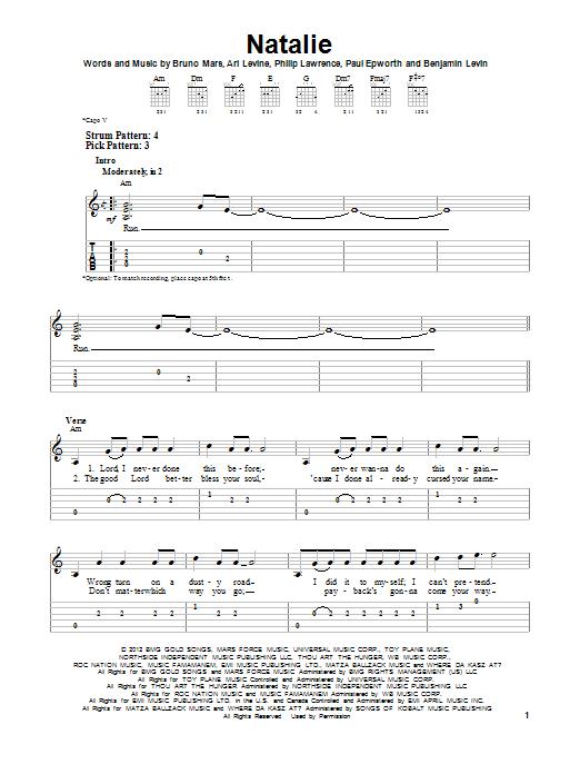 Natalie (Easy Guitar Tab)